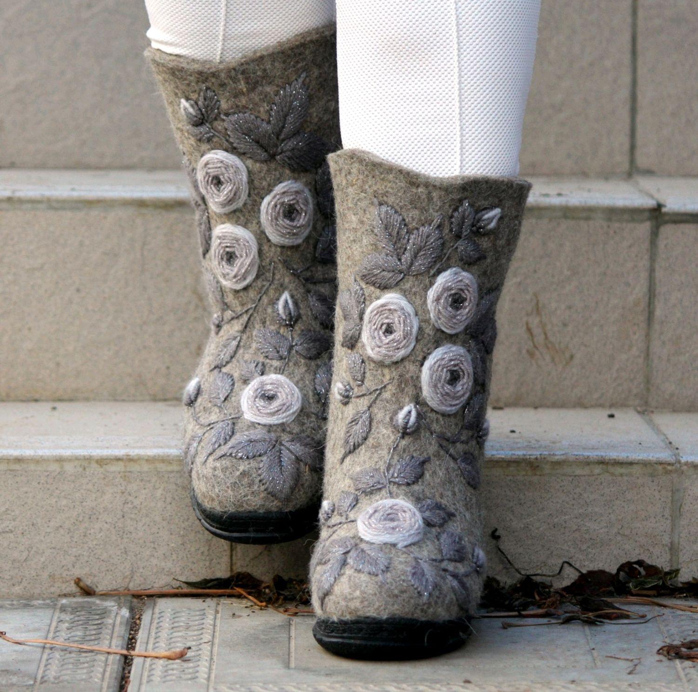 Grey valenki, valenki with embroidery, valenki on the sole, Felt boots, Cheboksary,  Фото №1