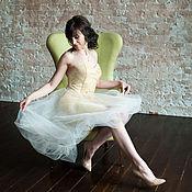 Одежда ручной работы. Ярмарка Мастеров - ручная работа Коктейльное короткое платье на выпускной Золотое перышко. Handmade.