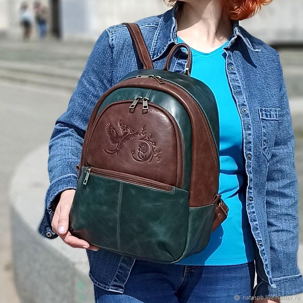 Women's Leather Backpack Brown Green Andi Mod R43-632-1, Backpacks, St. Petersburg,  Фото №1