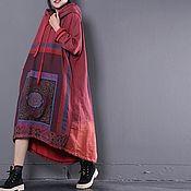 Одежда handmade. Livemaster - original item Super loose dress / hooded / red. Handmade.