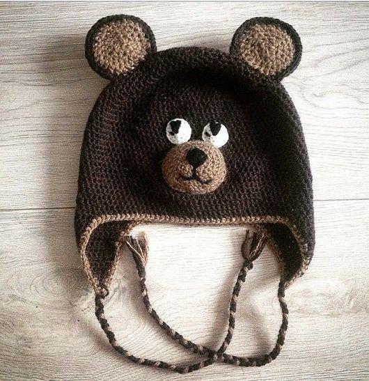 Шапки и шарфы ручной работы. Ярмарка Мастеров - ручная работа. Купить Шапка медведь. Handmade. Шапка, шапка вязаная