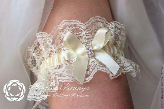 Свадебные аксессуары ручной работы. Ярмарка Мастеров - ручная работа. Купить Подвязка невесты. Handmade. Кремовый, подвязка невесты