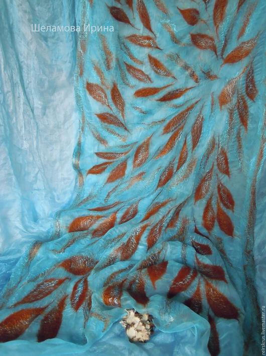"""Шарфы и шарфики ручной работы. Ярмарка Мастеров - ручная работа. Купить шарф """"Отражения в воде"""". Handmade. Голубой, шарф нуновойлок"""