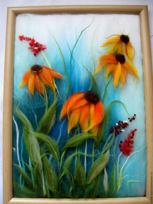 Картины цветов ручной работы. Ярмарка Мастеров - ручная работа. Купить Рудбеккии. Handmade. Комбинированный, цветы, шерсть меринос
