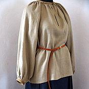 Одежда handmade. Livemaster - original item Shirt womens linen straight cut with ancient polecamy short. Handmade.