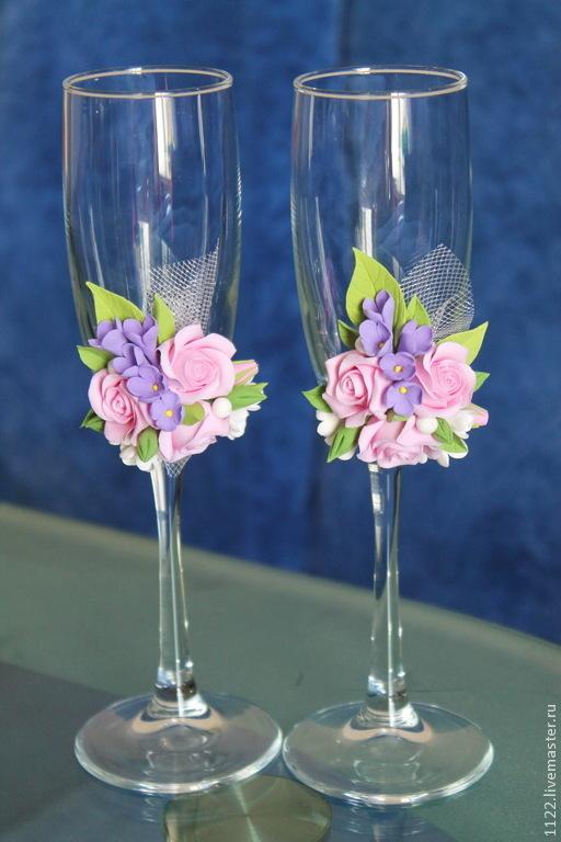 Свадебные аксессуары ручной работы. Ярмарка Мастеров - ручная работа. Купить Бокалы розы и сирень. Handmade. Разноцветный, свадебные бокалы