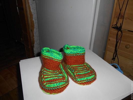 Обувь ручной работы. Ярмарка Мастеров - ручная работа. Купить пинетки для мальчика.. Handmade. Комбинированный, приятный подарок, мохер