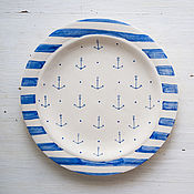 Посуда handmade. Livemaster - original item Sea cruise. A plate of food, ceramics. Handmade.