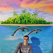 Для дома и интерьера handmade. Livemaster - original item Vinyl wall sticker-Dolphins. Handmade.