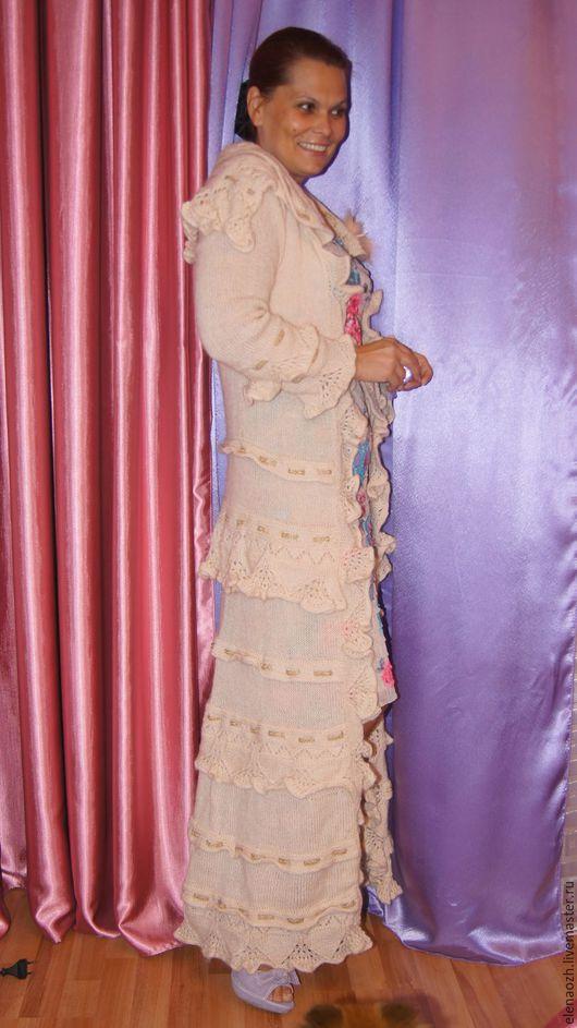 Верхняя одежда ручной работы. Ярмарка Мастеров - ручная работа. Купить Вязаное пальто ручной работы. Handmade. Кремовый