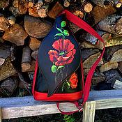 """Сумки и аксессуары handmade. Livemaster - original item Черный pюкзак - сумка из кожи с росписью """" Маковый """". Handmade."""