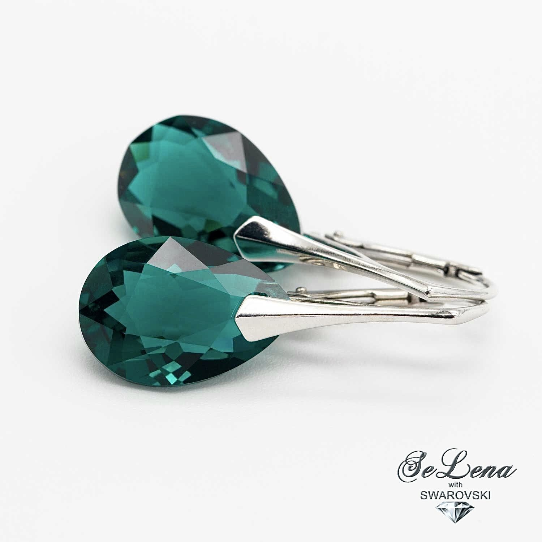 Earrings with Swarovski crystals 925 sterling silver, Earrings, St. Petersburg,  Фото №1