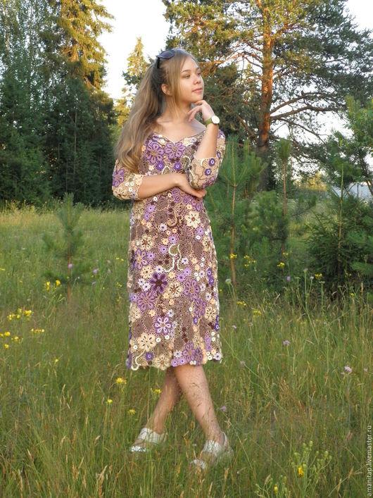 Платья ручной работы. Ярмарка Мастеров - ручная работа. Купить Платье вязаное  ирландское кружево  Мамин крепдешин с рукавом. Handmade.