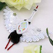 Украшения handmade. Livemaster - original item Brooch crane stork embroidered beads and sequins. Handmade.