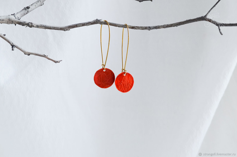 Brass red earrings Long boho earrings with floral ornament, Earrings, Ulan-Ude,  Фото №1