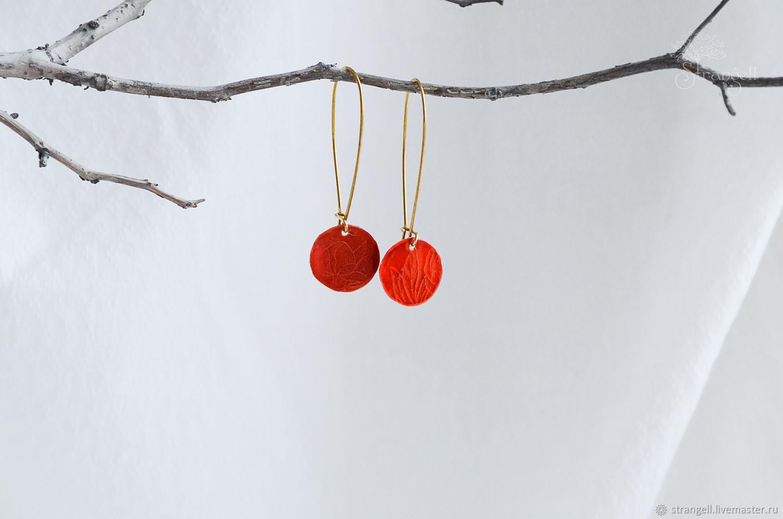 Латунные красные серьги Длинные бохо сережки с цветочным орнаментом, Серьги классические, Улан-Удэ,  Фото №1