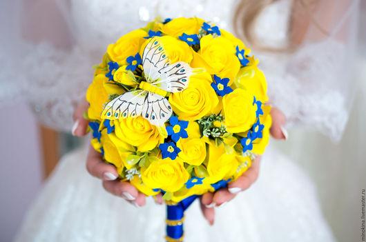 Свадебные цветы ручной работы. Ярмарка Мастеров - ручная работа. Купить Свадебный букет для свадьбы в желто-синем. Handmade. Желтый