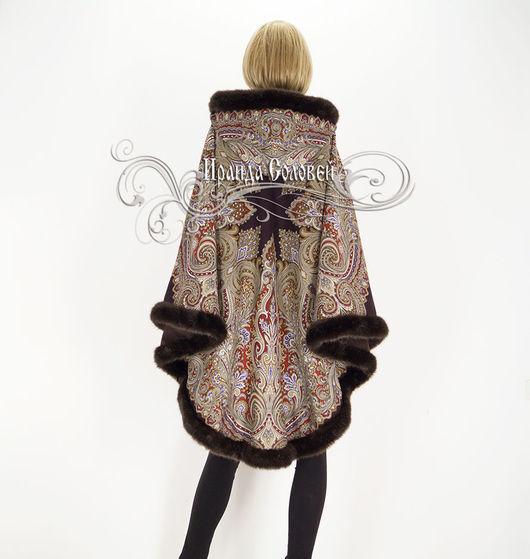Авторское пальто-пончо из павлопосадского платка (100% шерсть).