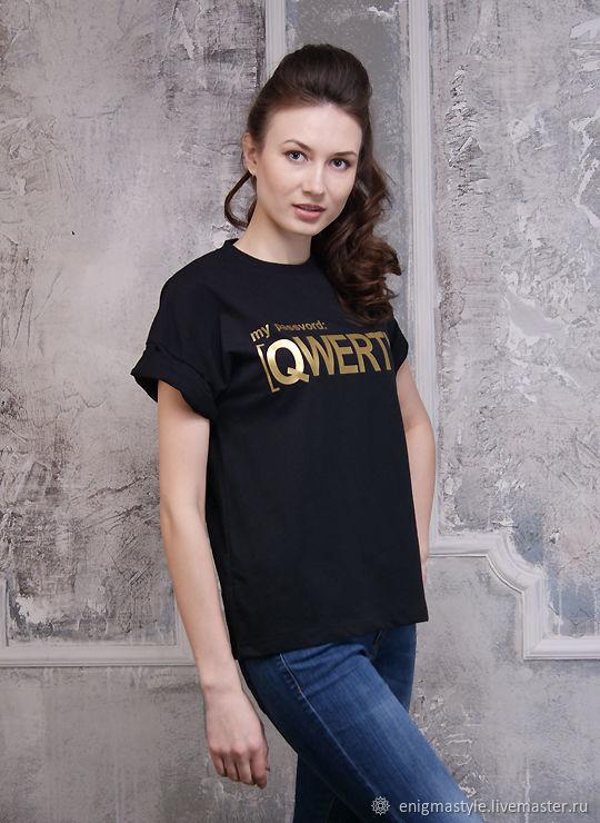 Beautiful women's QWERTY t-shirt, stylish black oversize t-shirt, T-shirts, Novosibirsk,  Фото №1
