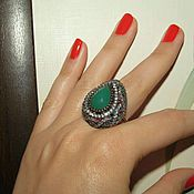 Украшения handmade. Livemaster - original item Ring of 925 SILVER with a chrysoprase framed tourmalines. Handmade.