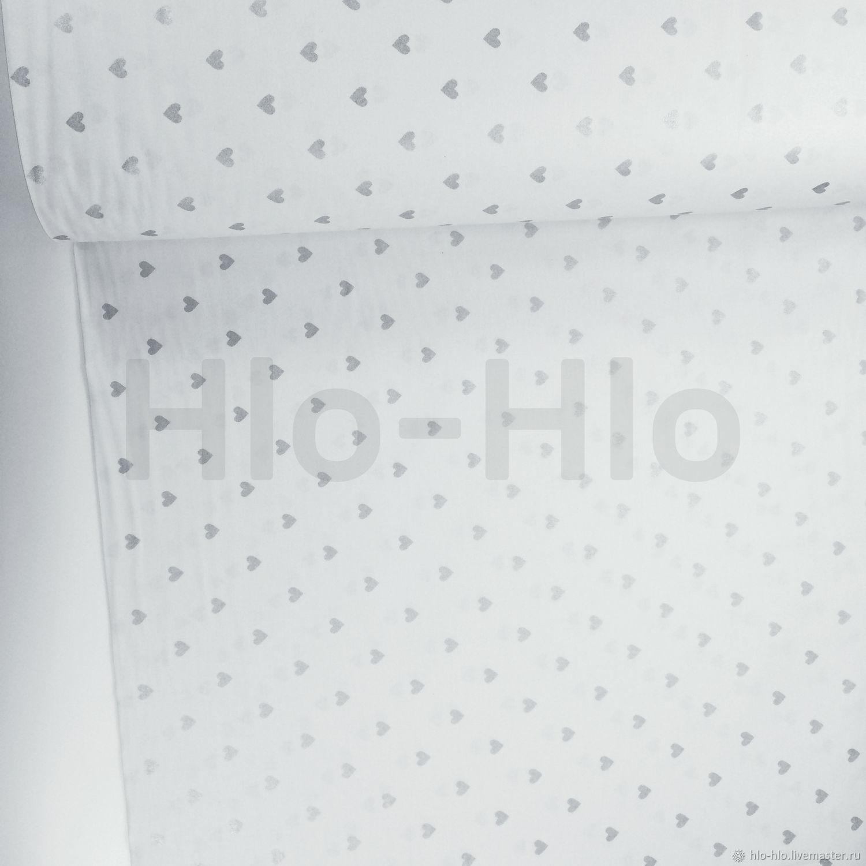 ручной работы. Ярмарка Мастеров - ручная работа. Купить Хлопок Турция — Сердечки серебро (глиттер) на белом. Handmade. Хлопок