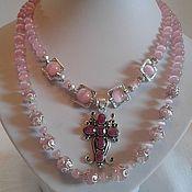 Украшения handmade. Livemaster - original item Pink choker with a cross of natural stone. Handmade.