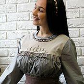 Одежда ручной работы. Ярмарка Мастеров - ручная работа Платье  серое из хлопка. Handmade.