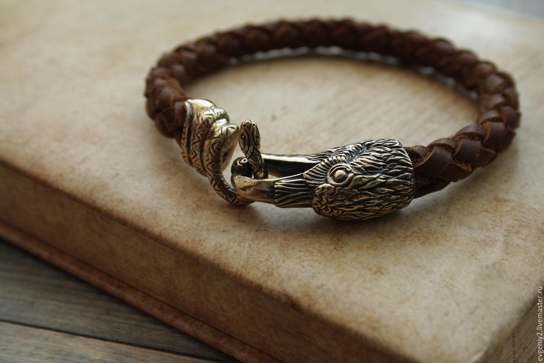 Leather bracelet with ravens, Chokers, Volgograd,  Фото №1