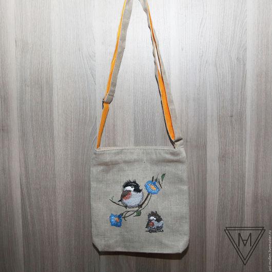 Женские сумки ручной работы. Ярмарка Мастеров - ручная работа. Купить Сумка «Воробушки». Handmade. Разноцветный, лен, Машинная вышивка