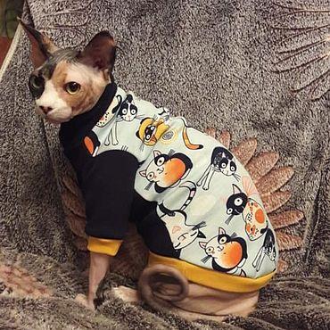 """Товары для питомцев ручной работы. Ярмарка Мастеров - ручная работа Одежда для кошек """"Толстовка - Стильные кошки"""". Handmade."""
