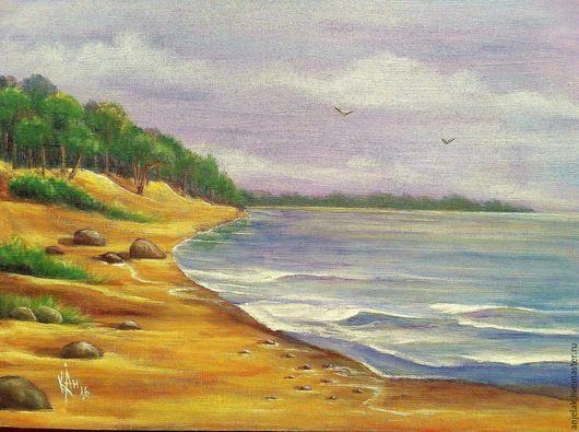 Пейзаж ручной работы. Ярмарка Мастеров - ручная работа. Купить Этюд. Handmade. Голубой, морской берег, пейзаж с водой