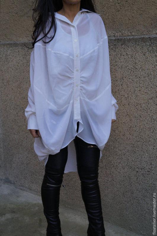Блузки ручной работы. Ярмарка Мастеров - ручная работа. Купить Экстравагантная рубашка/Ассиметричаня белая рубашка/F1521. Handmade. Белый, рубашка енская