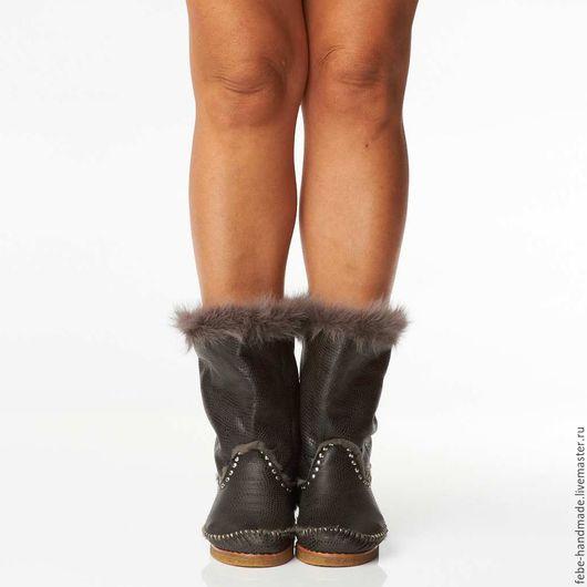 Обувь ручной работы. Ярмарка Мастеров - ручная работа. Купить Зимние полусапожки c опушкой STIVALETTO /39-40 в наличие/. Handmade.