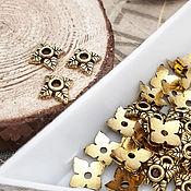 Материалы для творчества handmade. Livemaster - original item 10 PCs. Caps for beads 6 mm color antique gold (832-Z). Handmade.