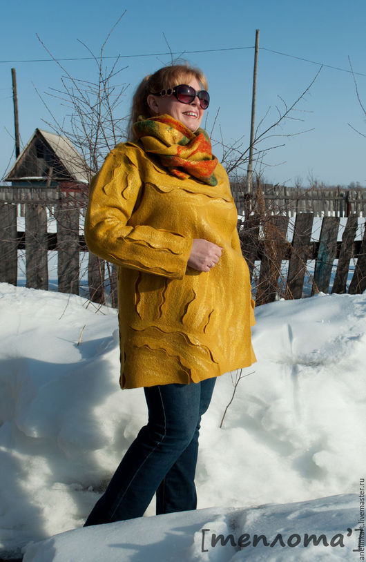 """Верхняя одежда ручной работы. Ярмарка Мастеров - ручная работа. Купить Пальто валяное """"Солнышко"""". Handmade. Желтый, пальто из шерсти"""