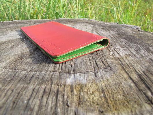 Кошельки и визитницы ручной работы. Ярмарка Мастеров - ручная работа. Купить Портмоне вертикальное ярко-красное с зеленым. Handmade. молния