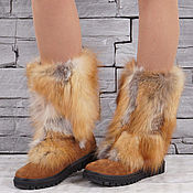 Обувь ручной работы handmade. Livemaster - original item Winter boots genuine leather Fox fur women`s. Handmade.
