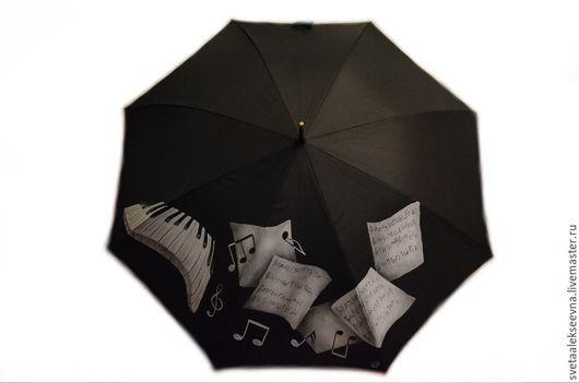 """Зонты ручной работы. Ярмарка Мастеров - ручная работа. Купить Зонт с ручной росписью """"Музыкальный"""". Handmade. Черный, зонт с росписью"""