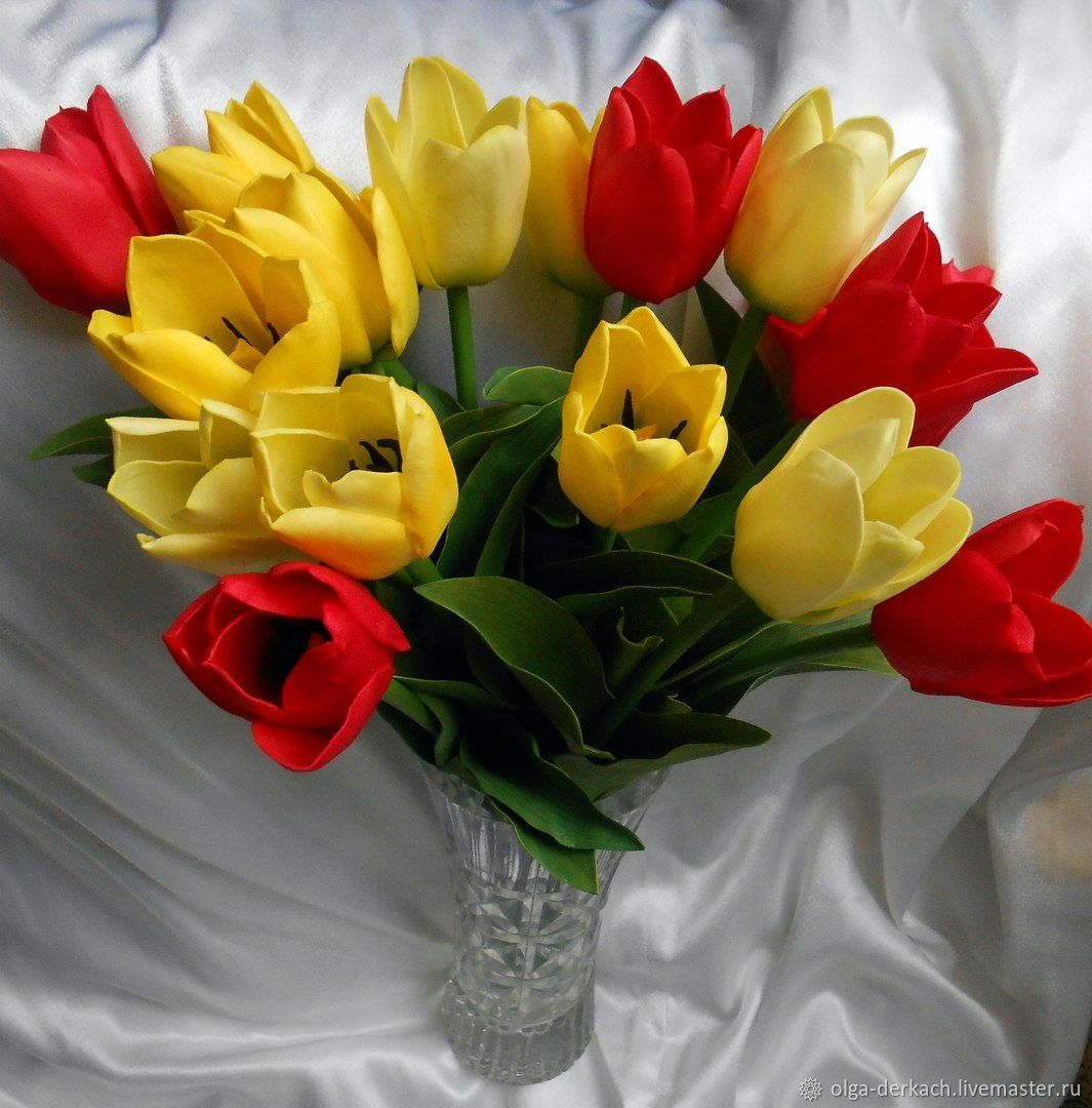 Тюльпаны из фоамирана (открытые и закрытые), Букеты, Донецк,  Фото №1