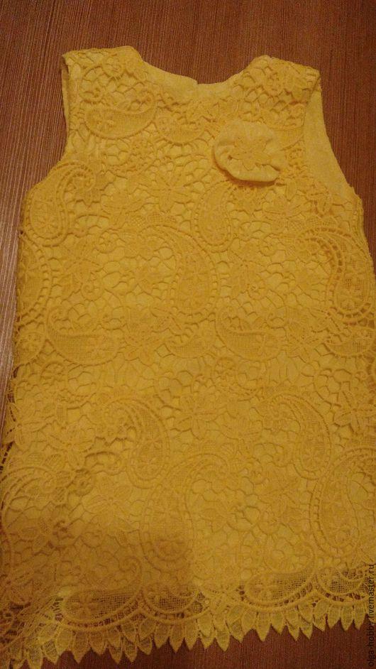 Одежда для девочек, ручной работы. Ярмарка Мастеров - ручная работа. Купить Платье летнее. Handmade. Желтый, для девочки, платье из кружева