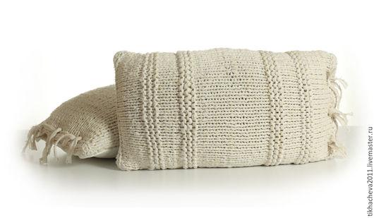 Текстиль, ковры ручной работы. Ярмарка Мастеров - ручная работа. Купить Подушки вязаные спицами в стиле бохо. Handmade. Белый