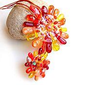 Украшения handmade. Livemaster - original item Glass jewelry set (pendant, ring) Hot sun. Fusing. Handmade.