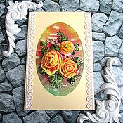 Свадебный салон handmade. Livemaster - original item Greeting card Wedding Anniversary Birthday with roses Sonata. Handmade.