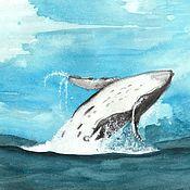 Картины и панно handmade. Livemaster - original item Flight of the whale. Handmade.