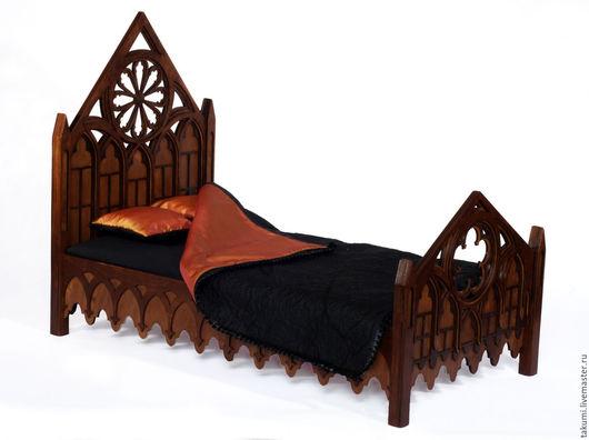 """Кукольный дом ручной работы. Ярмарка Мастеров - ручная работа. Купить Двухспальная кровать """"Готика"""" для кукол. Handmade. Коричневый, готичный"""