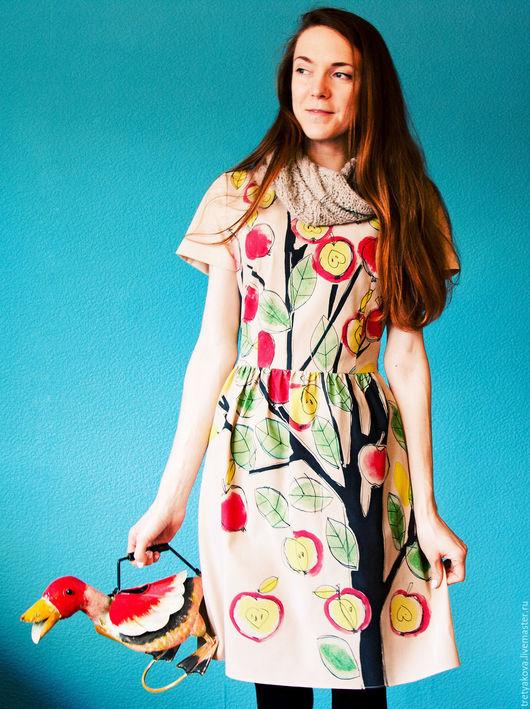 Платья ручной работы. Ярмарка Мастеров - ручная работа. Купить Платье Яблочное. Handmade. Бежевый, одежда с принтом