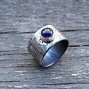 Украшения ручной работы. Ярмарка Мастеров - ручная работа Серебряное кольцо с аметистом, широкое кольцо из серебра с аметистом. Handmade.