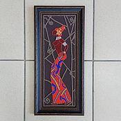 """Картины и панно ручной работы. Ярмарка Мастеров - ручная работа Картина на коже """"Африканка"""". Handmade."""