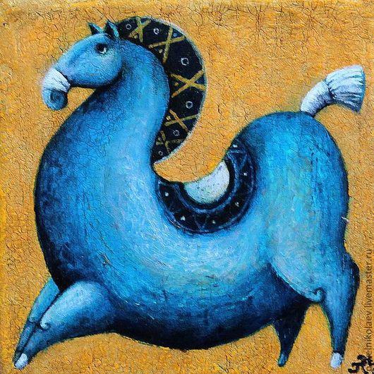 """Животные ручной работы. Ярмарка Мастеров - ручная работа. Купить """"Синяя лошадь - символ 2014 года"""", авторская печать. Handmade."""