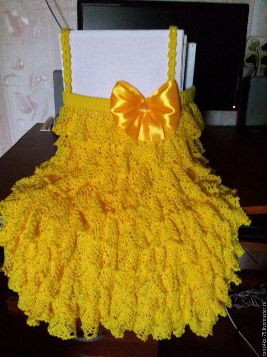 """Одежда для девочек, ручной работы. Ярмарка Мастеров - ручная работа. Купить сарафан """"одуванчик"""". Handmade. Желтый, одуванчик, платье крючком"""